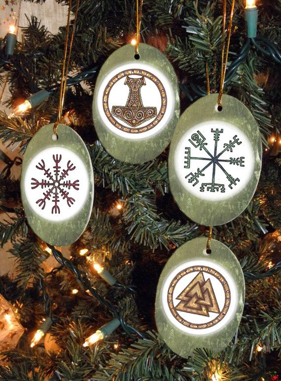set of four viking heathen asatru symbols yulewinter solstice ornaments - Viking Christmas