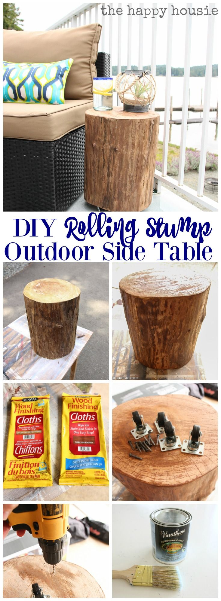 DIY Rolling Stump Outdoor Side Table is a super thrifty and easy outdoor DIY Project