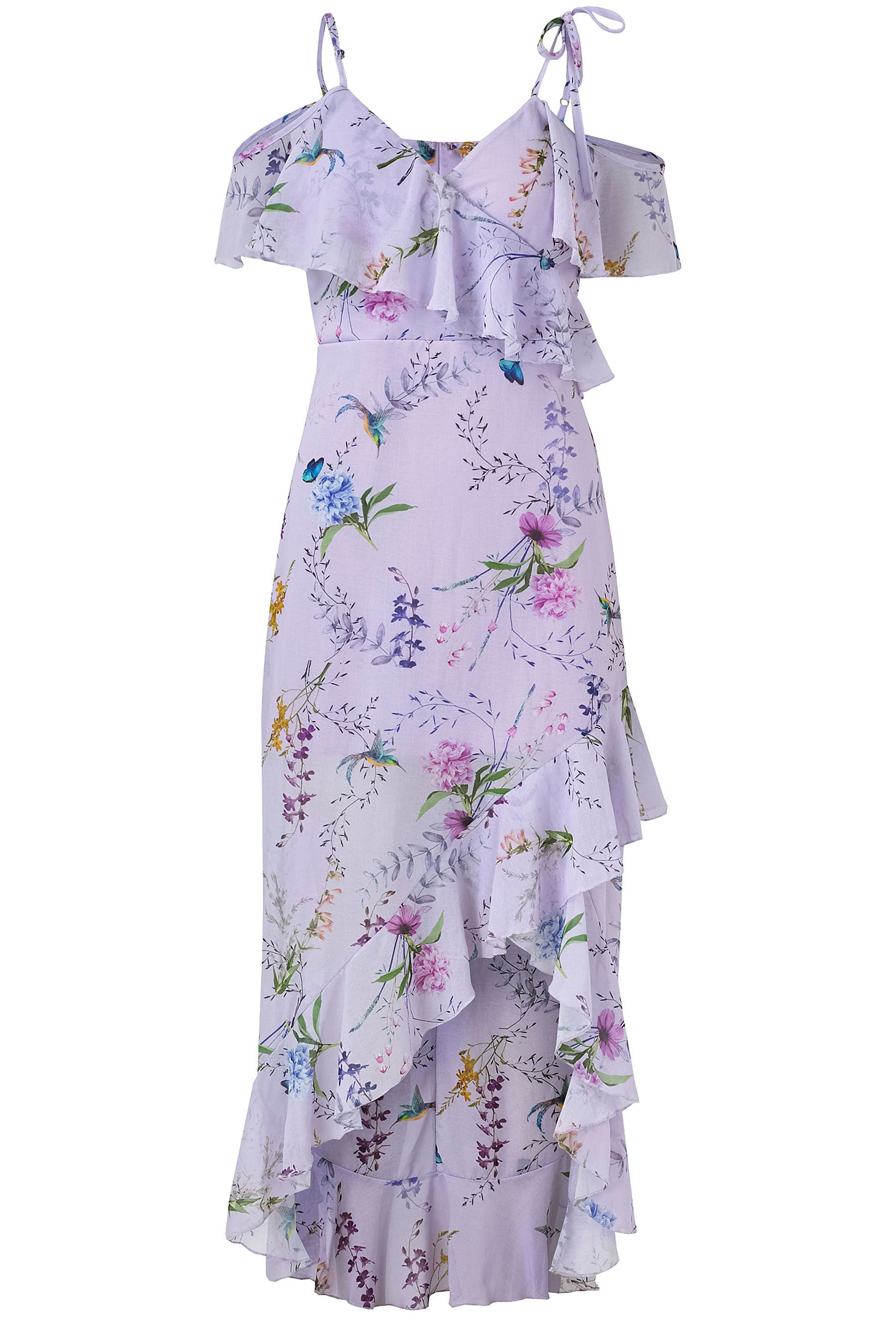 568d347a58580 Womens Sistaglam Loves Jessica Floral Print Frill Maxi Dress - Purple