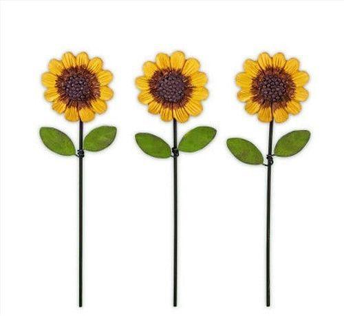 Dollhouse Miniature Fairy Farden Metal Sunflower Pick