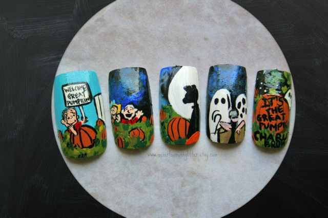 """""""It's The Great Pumpkin, Charlie Brown"""" nails with my favorite scenes. Poor Charlie Brown and his rock!"""