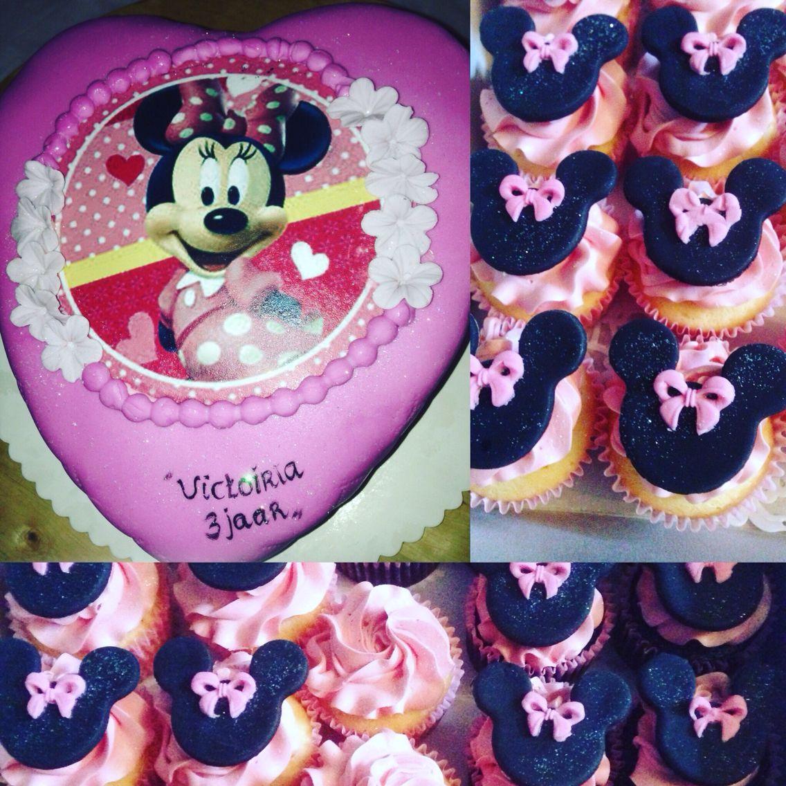 Mini mouse verjaardagstaart & cupcakes