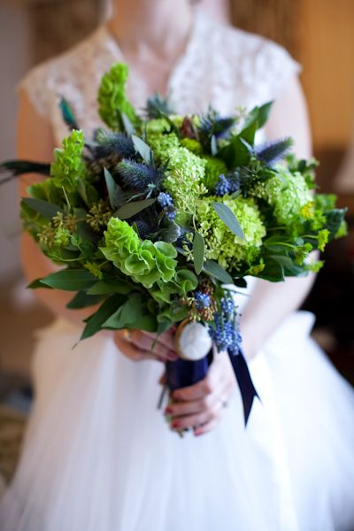 blues and greens:  bells, hydrangea, muscari, thistle, and more