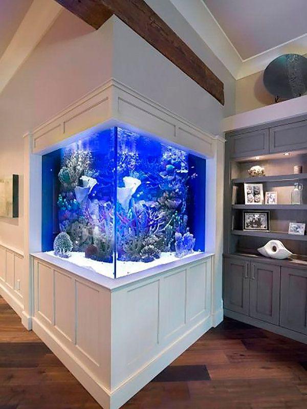 Un acuario en el sal n decoraci n interiores pinterest tabique acuario y peceras - Decoracion acuario marino ...