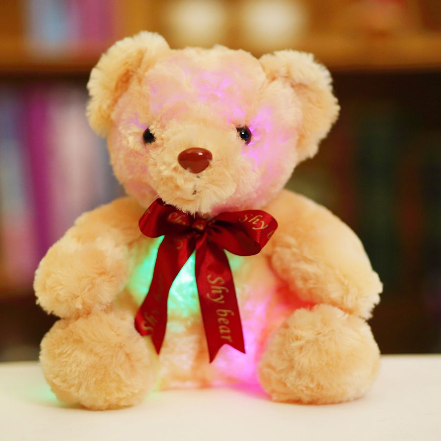 25cm Plush Bear Toy Doll With Colorful Led Light Sitting Bear With Red Tie Children Toys For Kids Birthday Gift Bear Toy Teddy Bear Christmas Gift Bear Plush [ 900 x 900 Pixel ]