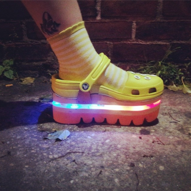DEGEN x Crocs rainbow light up shoes made an appearance this past Friday at  the Drury