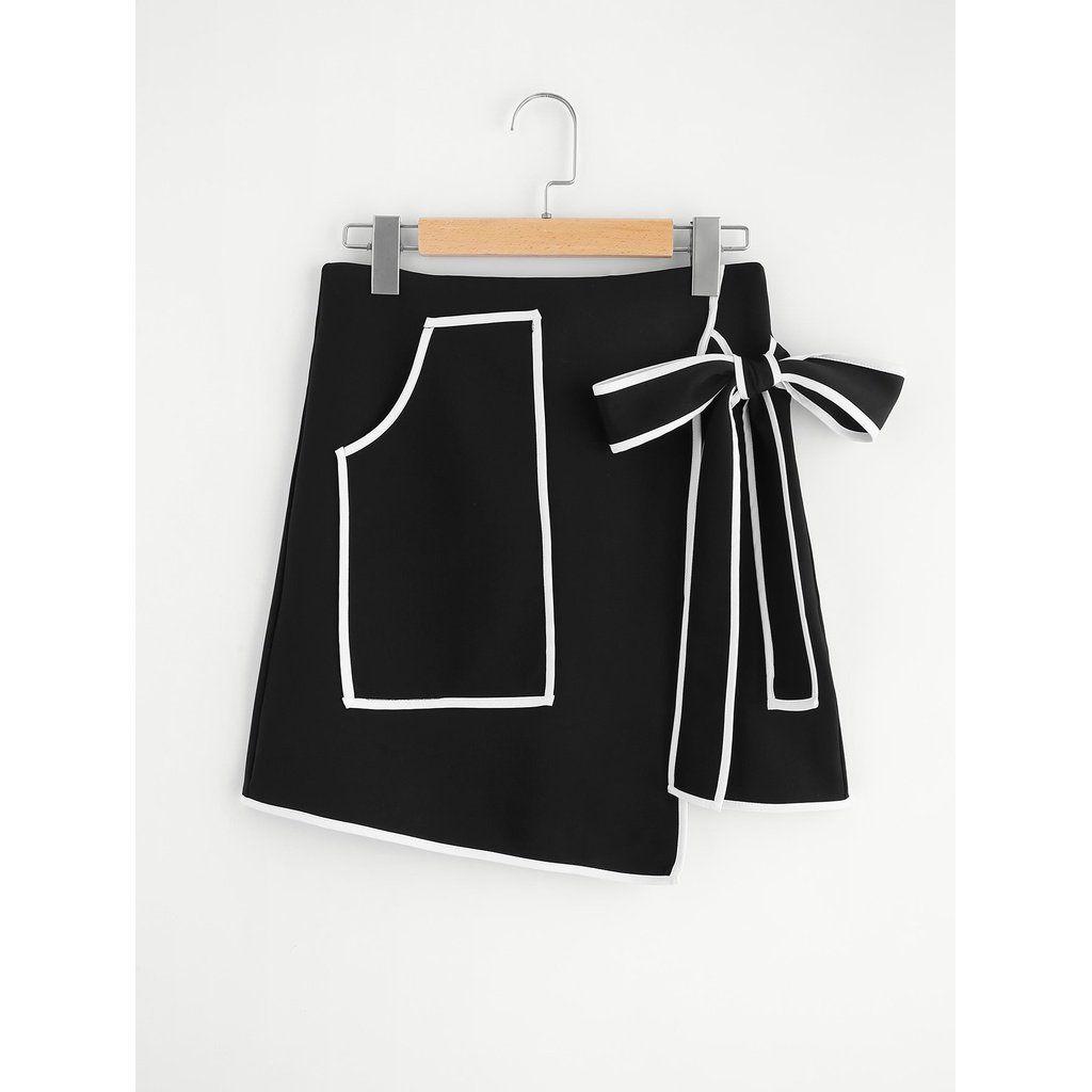 Contrast Binding Bow Tie Wrap Skirt Black In 2019