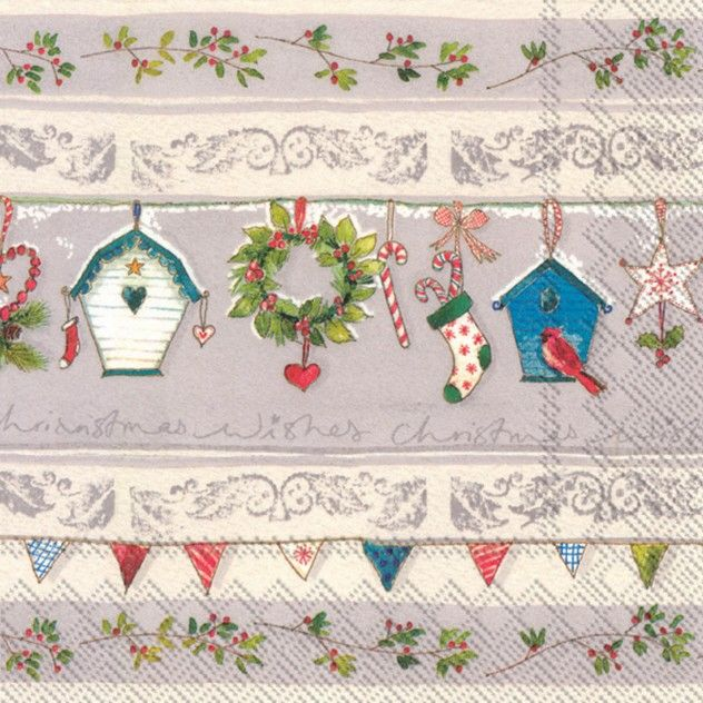 The Festive Garden Christmas party napkins are a shabby chic style featuring a multi color flag  sc 1 st  Pinterest & The Festive Garden Christmas party napkins are a shabby chic style ...