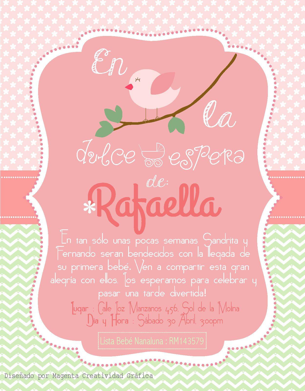 Invitación Baby Shower bebé Rafaella. Temática : Pajaritos. Verde y ...