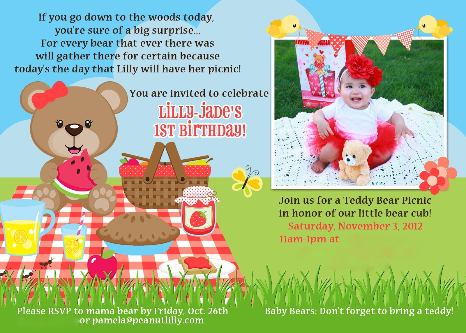 Teddy Bear Picnic Party Invites Macdonald39s Playland Lilly39s 1st ...