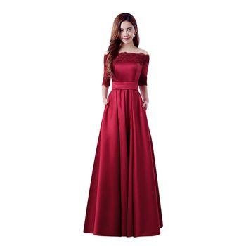 a1fb8d156 2016 Nuevo Vino Rojo Satén Media Manga de Encaje Bordado de Lujo Vestido de  Noche largo de Novia Elegante Banquete Vestido de Fiesta Robe De Soiree