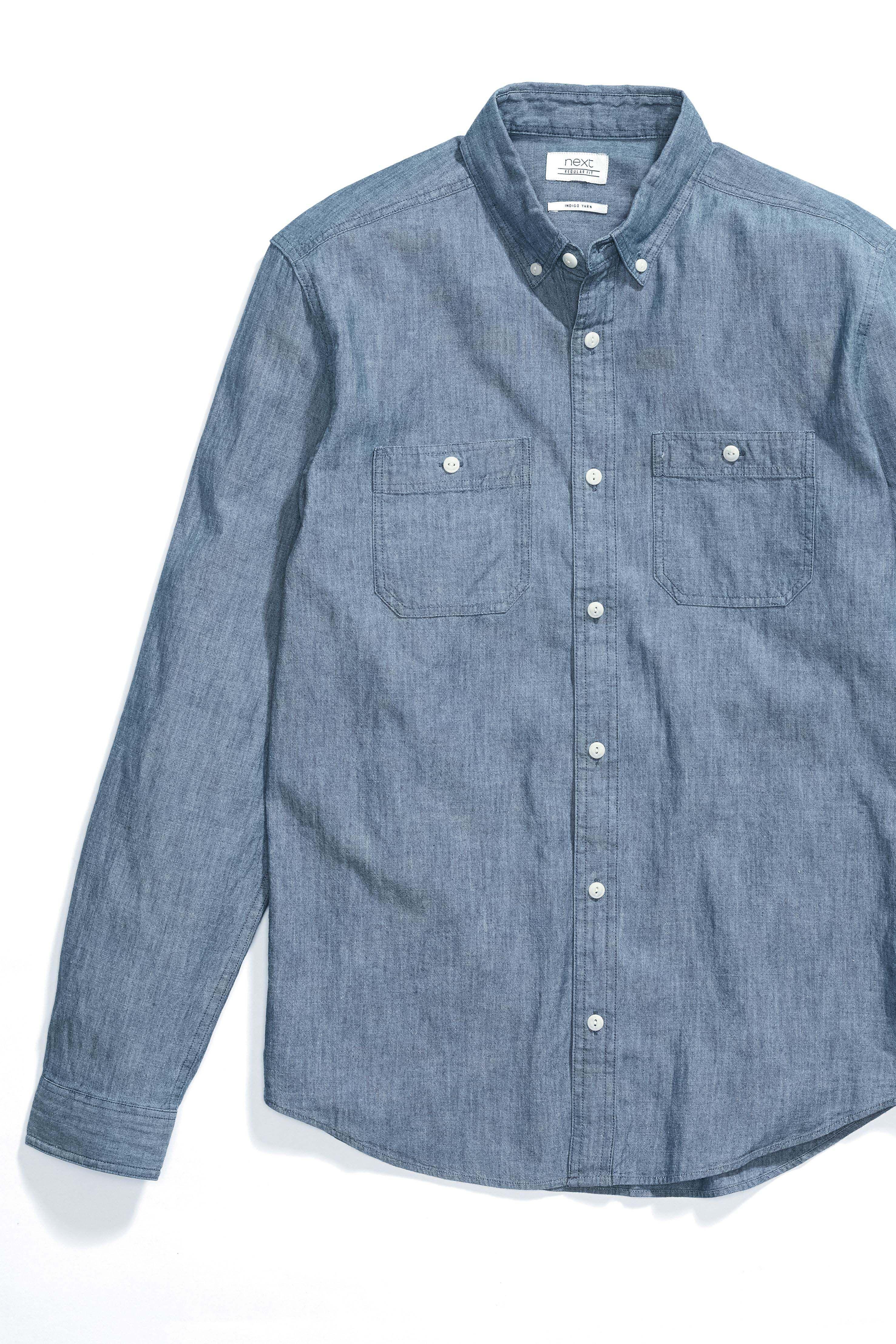 fa0028eb48 Mens Next Denim Blue Long Sleeve Chambray Shirt - Blue