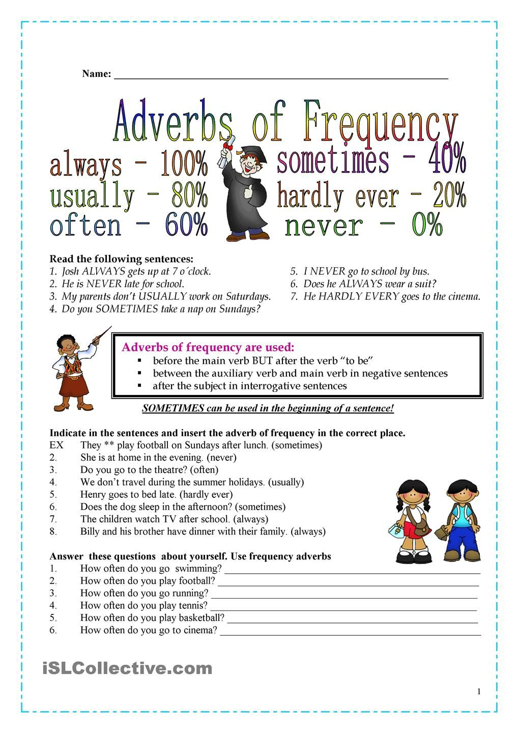 Workbooks worksheets on kinds of adverbs : Frequency adverbs | uhm | Pinterest | Adverbs, English and English ...