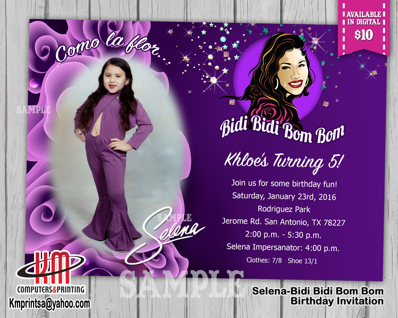 Selena - Bidi Bidi Bom Bom Birthday Invitation Digital $10 Printed ...