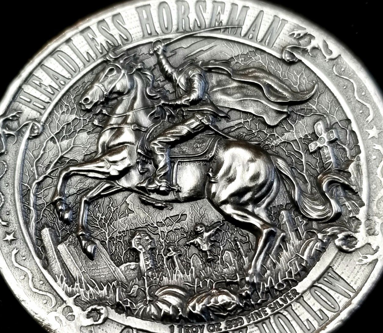 Headless Horseman Of Sleepy Hollow 1 Troy Ounce Of Silver In 2020 Apmex Antique Coins Ebay