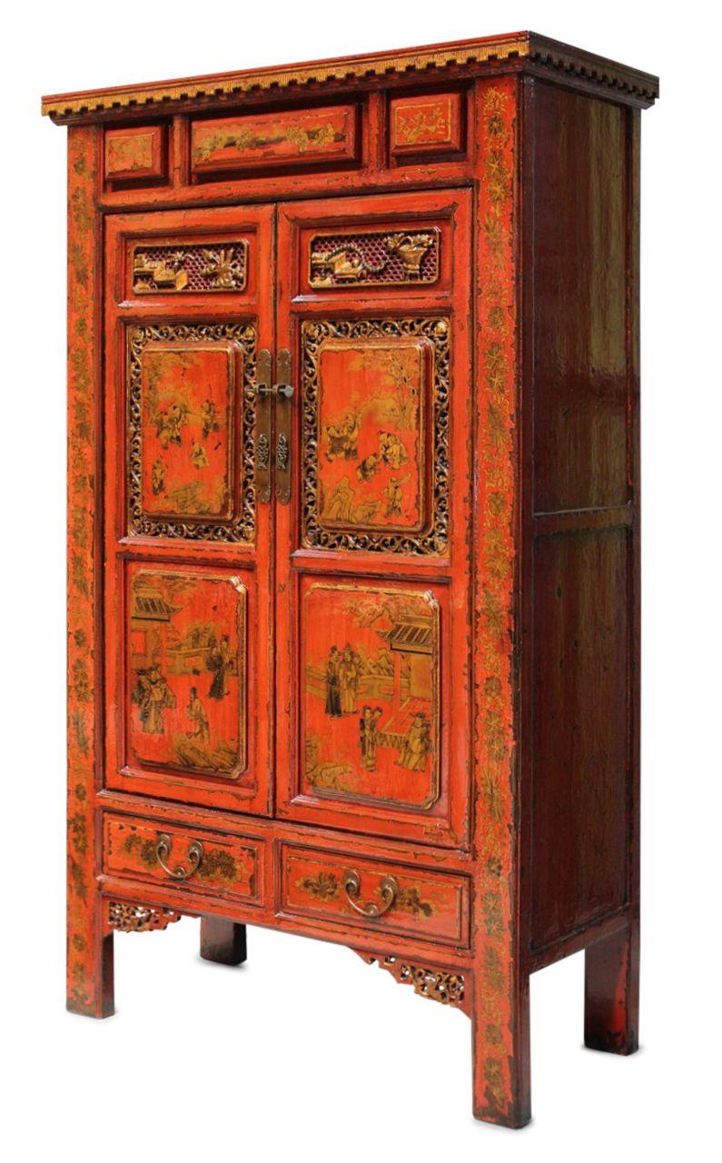Handbemalter China Schrank aus Nachlass, 183 cm groß ...