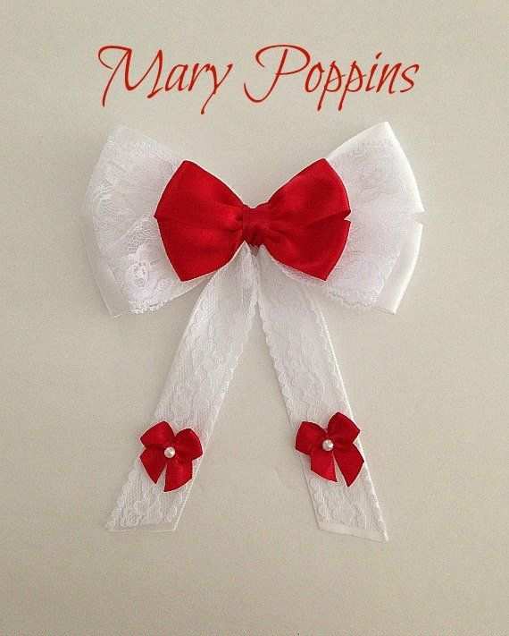"Handmade 4/"" Mary Poppins Hair bow on a clip"