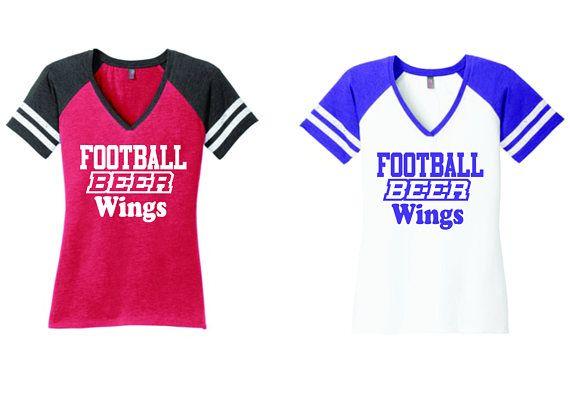 0d0efe3e5 FOOTBALL BEER WINGS, football shirt, womens football shirt, womens beer  shirt, gameday shirt, wings shirt, beer shirt, gameday shirt