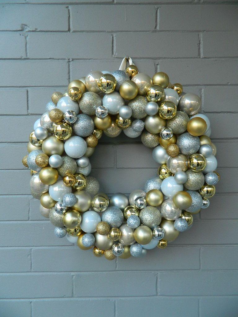 Silver Gold Champagne Ornament Wreath Ornament Wreath Christmas Wreaths Wreaths