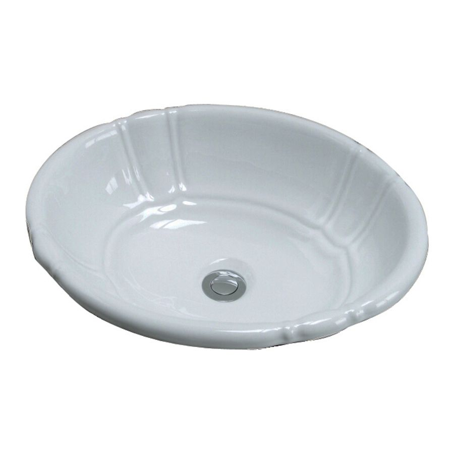 Barclay Lisbon White Drop In Oval Bathroom Sink with Overflow 4