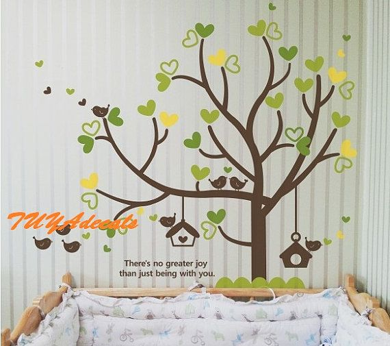 wall decals  Vinyl Wall Decal Nature Design Tree Wall Decals chrildren's wall decals Wallstickers Tree with bird decal: sweet dream on Etsy, R$183,17