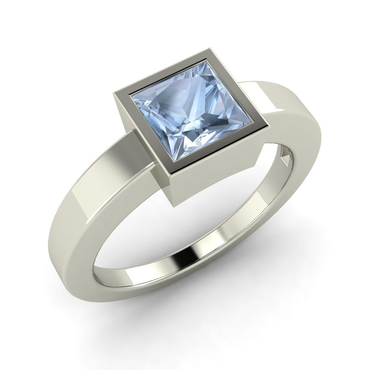 ct princess cut aquamarine solitaire ring in k white gold