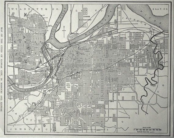 1925 Antique Map Of Kansas City In Kansas And Missouri