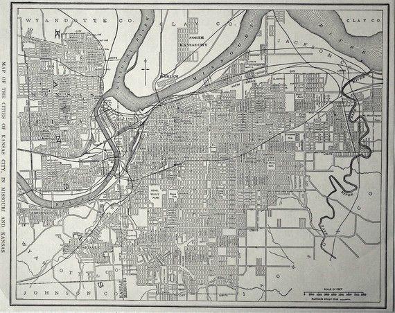 1925 Antique Map Of Kansas City In Kansas And Missouri