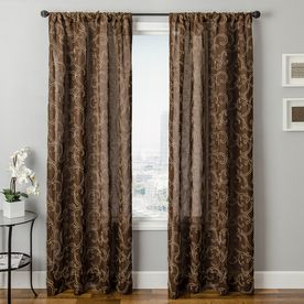 Allen Roth Everly 63 In L Geometric Chocolate Rod Pocket Curtain Panel