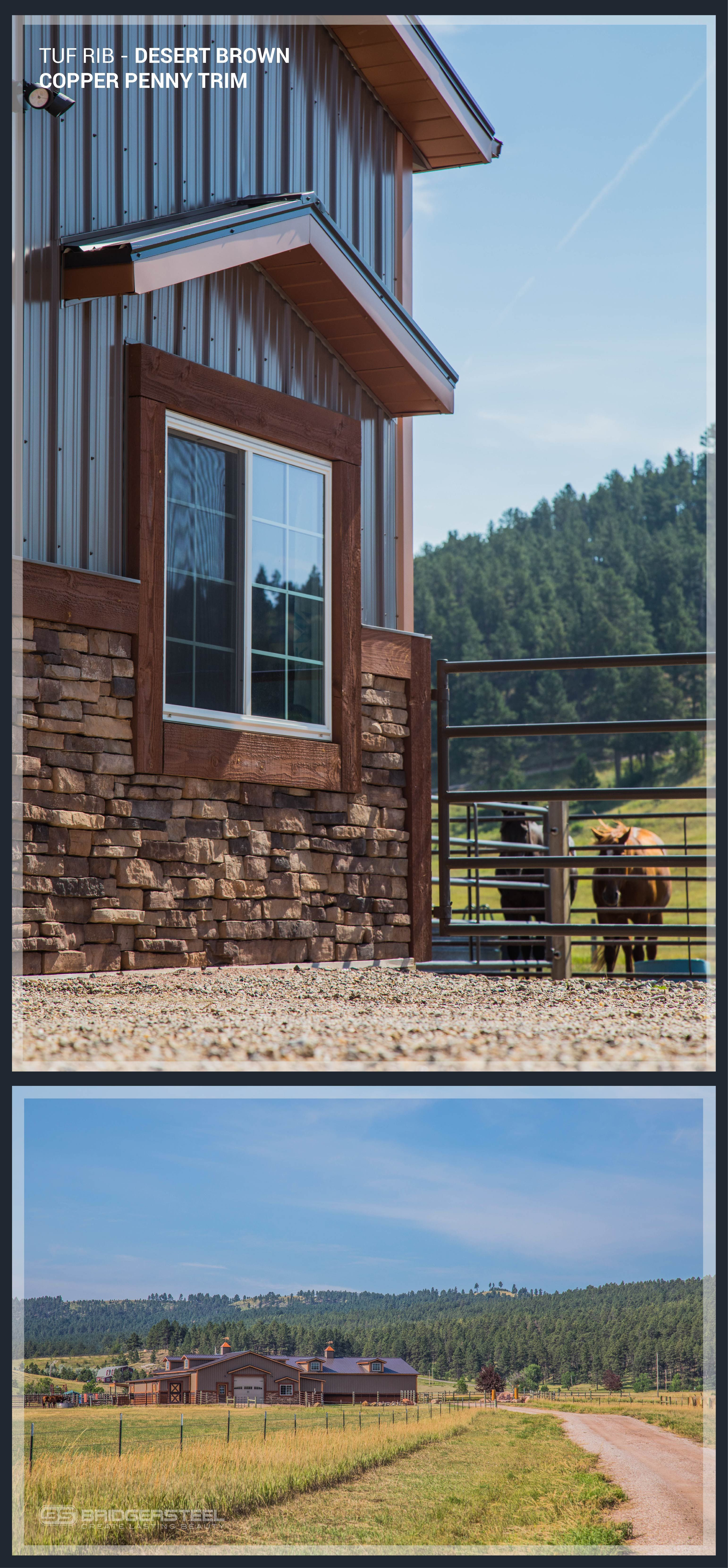 Desert Brown Tuf Rib With Copper Penny Trim Looks Gorgeous On This Barn And Home Metal Building Homes Cost Metal Building Homes House Exterior