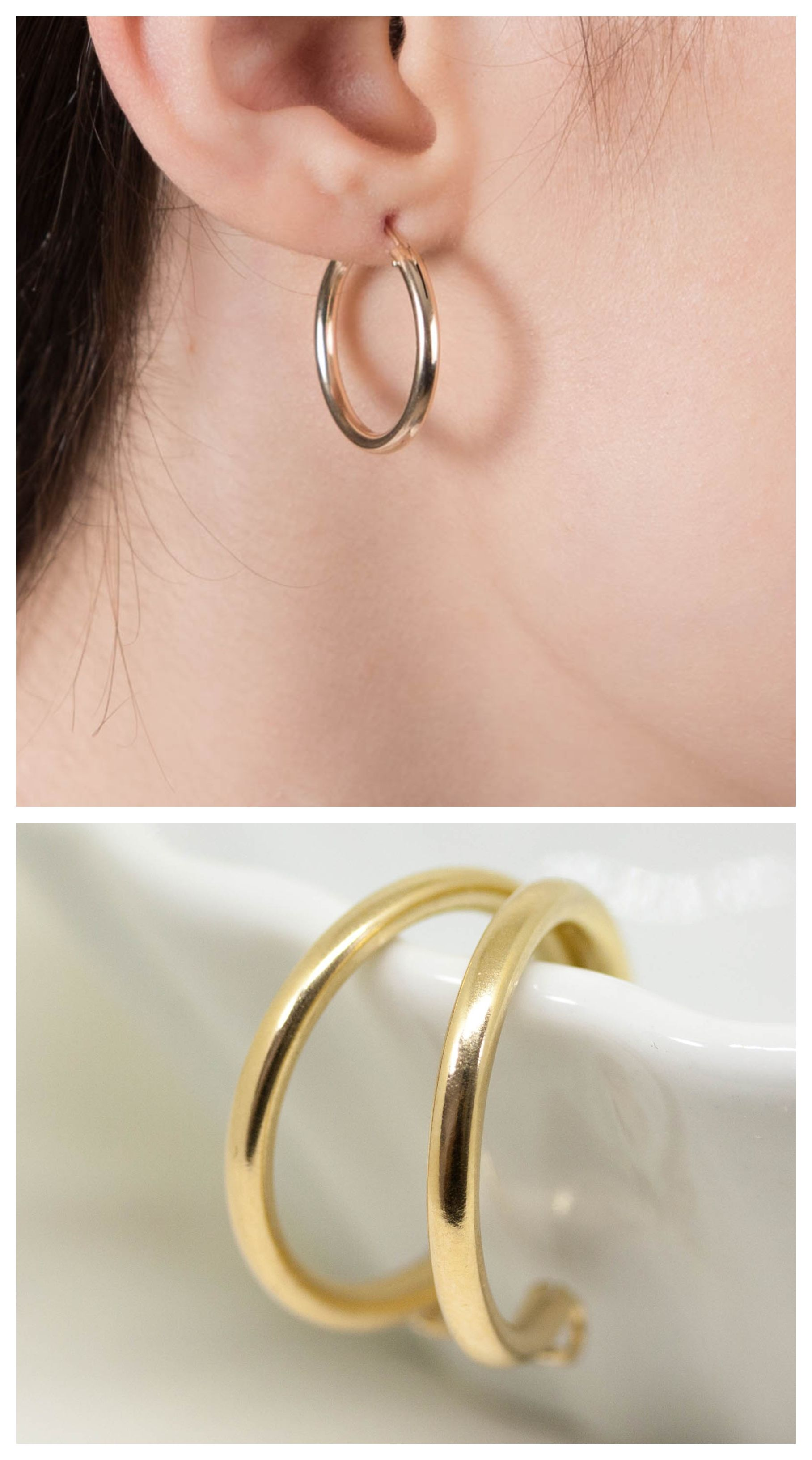 Goldfilled Hoops 14k Gold Filled Thick Hoop Earrings Minimalist Lightweight Everyday
