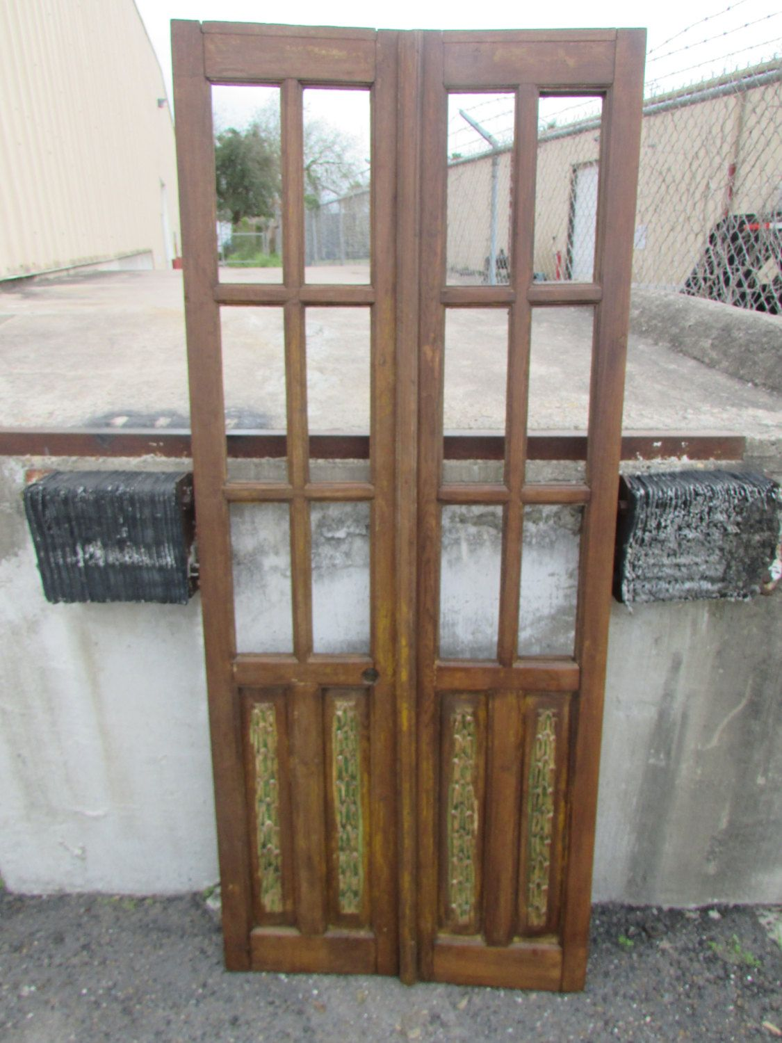 Antique Pair Mexican Carved Old Doors Primitive Rustic 32x77
