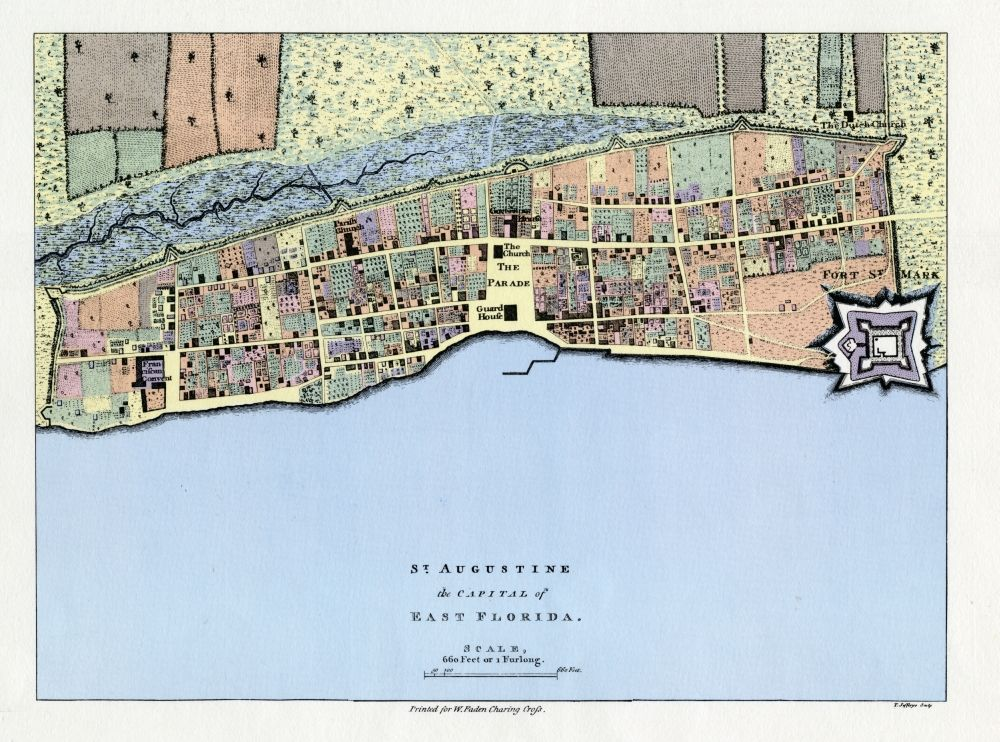 St Augustine Florida Map.A 1769 Map Of St Augustine The Capital Of East Florida Florida
