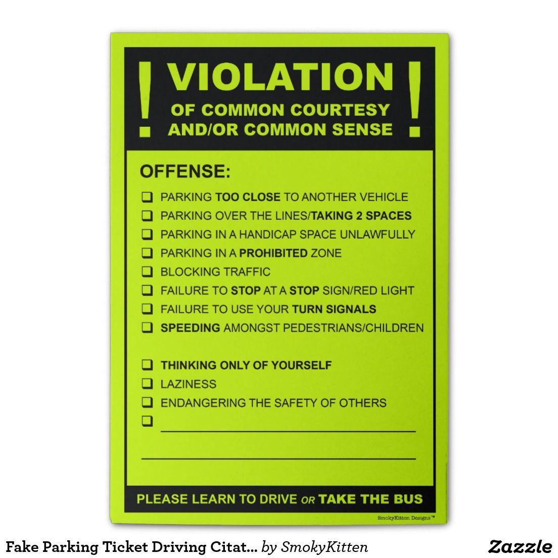 Funny Fake Parking Ticket Driving Citation Post-it® Notes | Posts ...