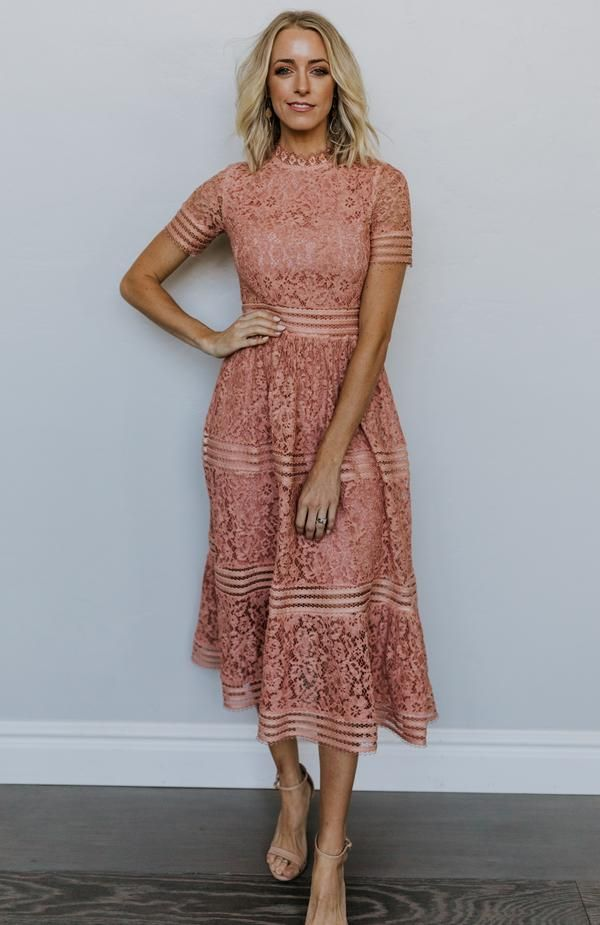 Photo of Aria Lace Column Dress in Dusty Rose
