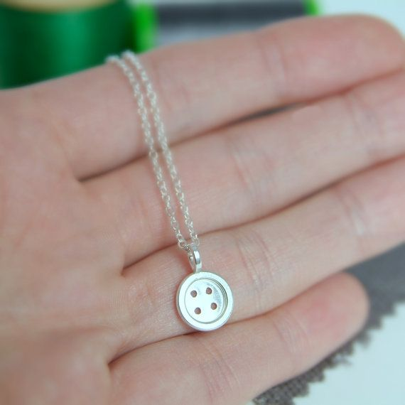 Silver Button Necklace Gift for Seamstress Sewing Jewelry