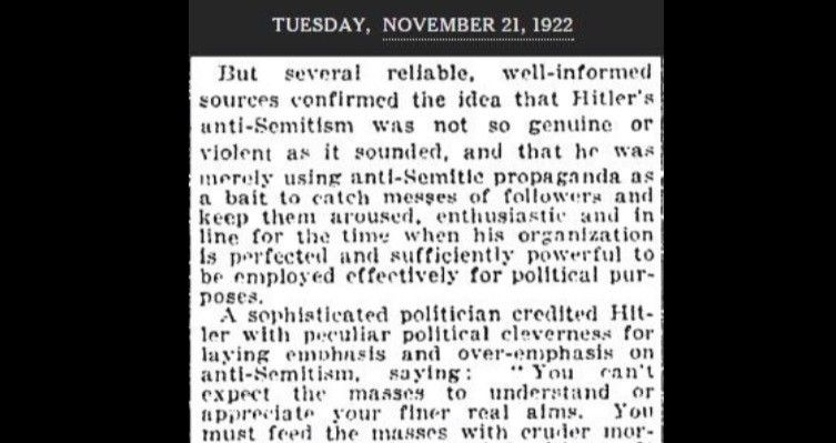 WHOA, Please Read. The first NYT article on Hitler serves as a reminder about why we can't downplay hateful rhetoric. This November 1922 article about Hitler in theNew York Timesshould be a stark reminder just howdangerous rhetoric can be