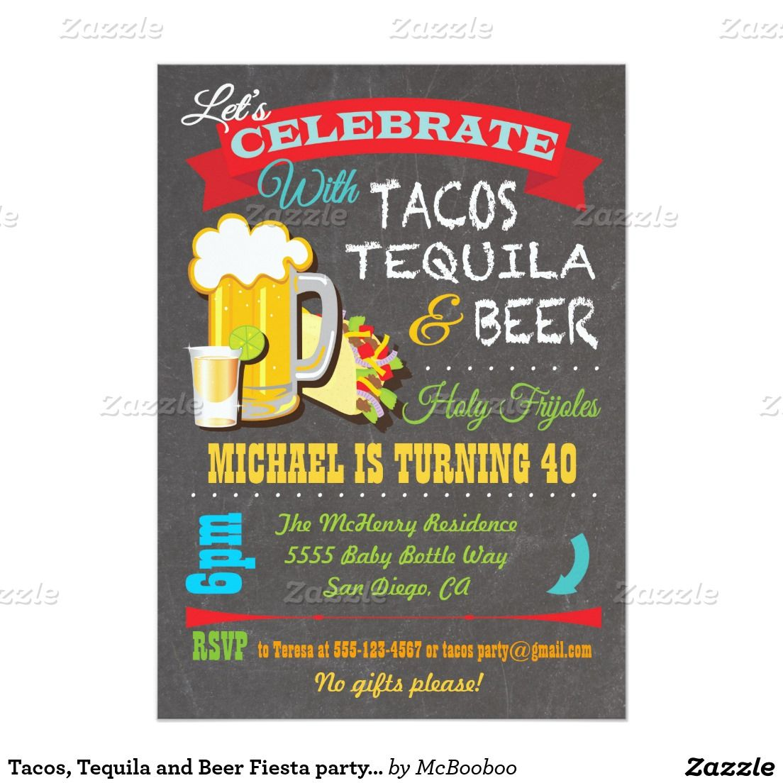 Tacos, Tequila and Beer Fiesta party invitation ...