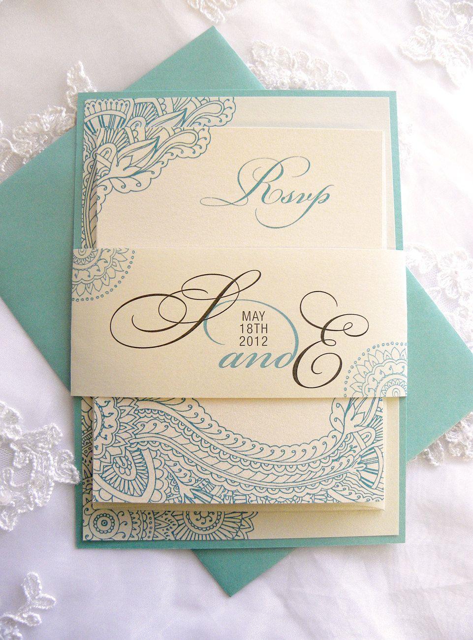 Henna Paisley Wedding Invitations in Ivory Champagne & Aqua - Mehndi ...