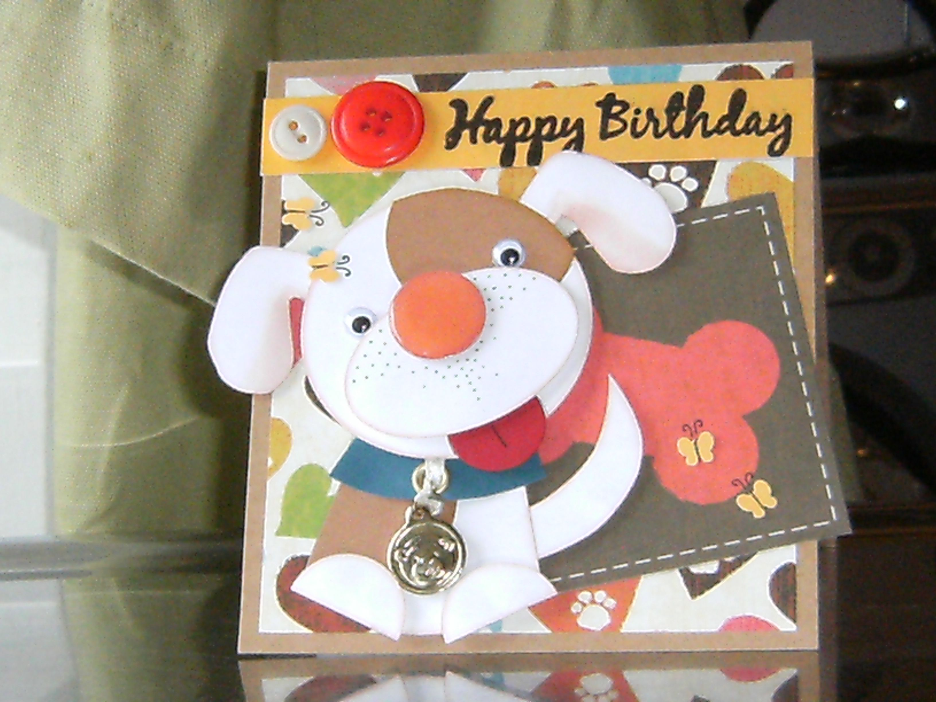 Puppy dog kid's birthday card. Puppy made using circle and oval punches. Woof!