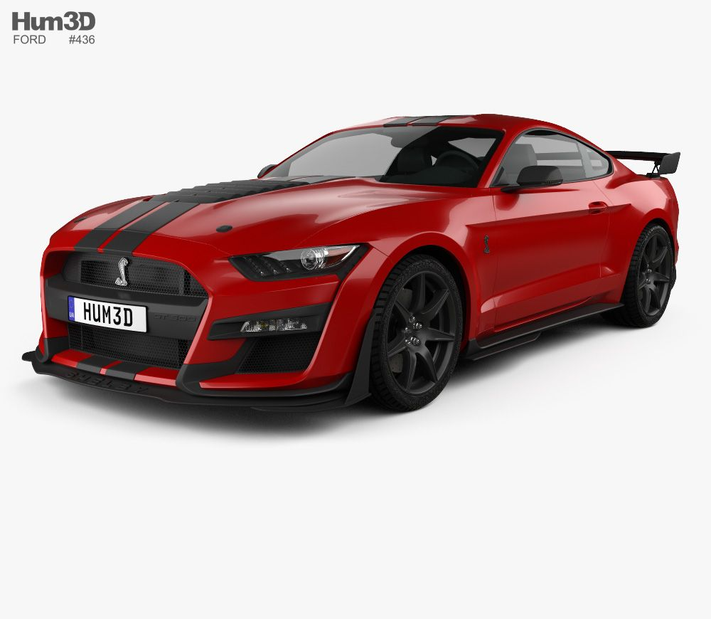 3d Model Of Ford Mustang Shelby Gt500 Coupe 2020 Ford Mustang Ford Mustang Shelby Ford Mustang Gt500