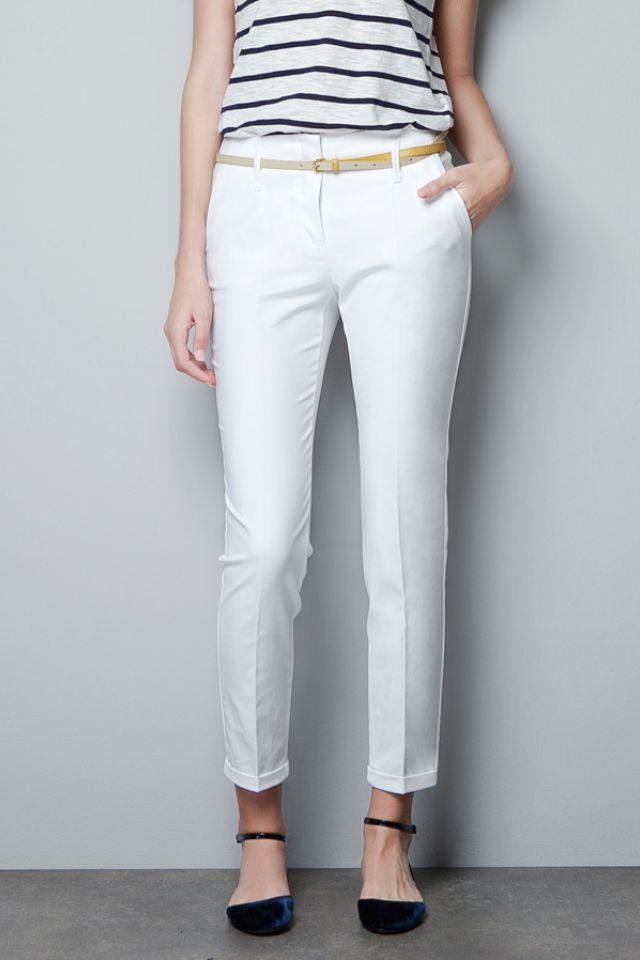 Nice Pantalón Moda De prim Blanco Rayas Trousers Vestir Camisa 1UXxpqS