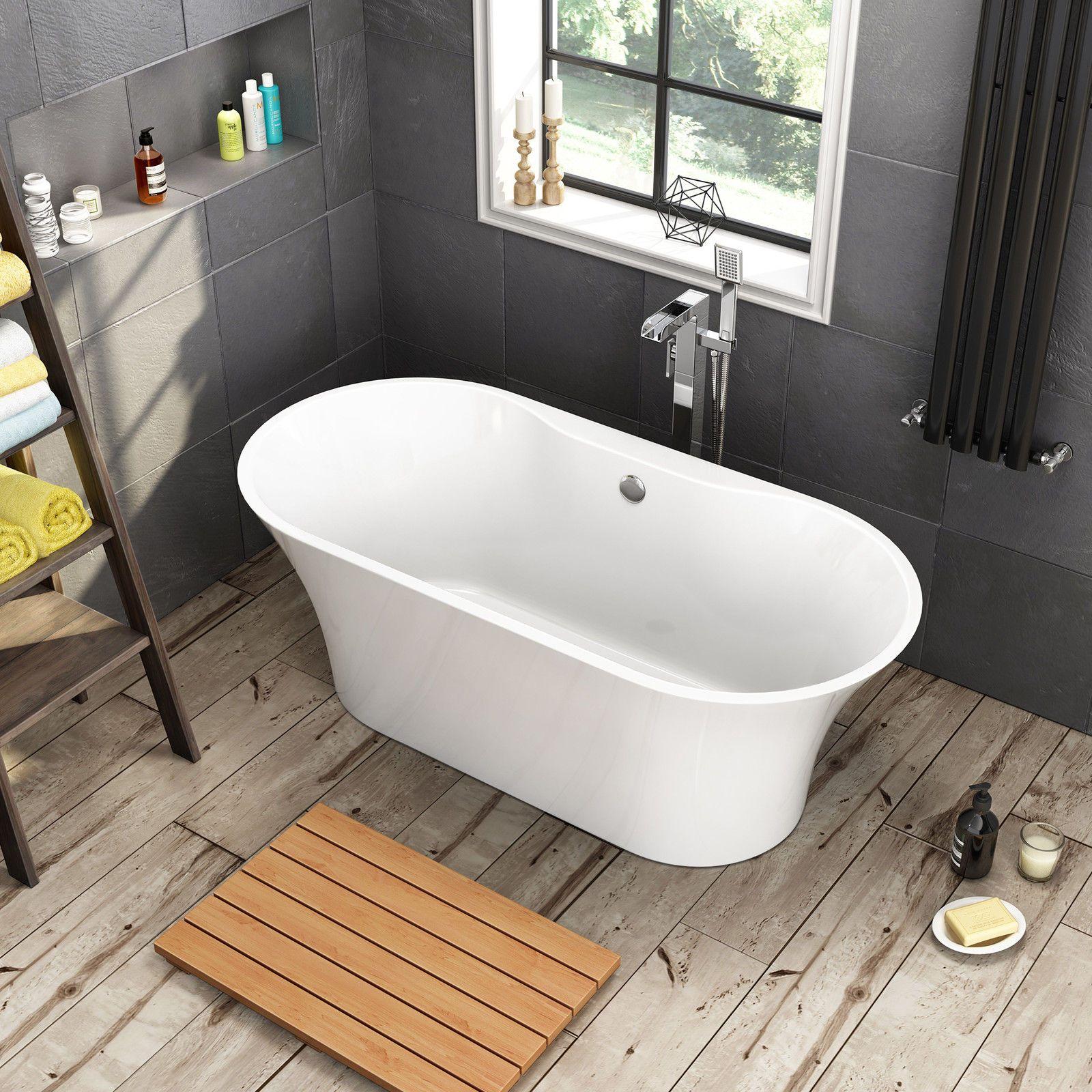 1600 x 750mm Freestanding Bathtub Designer Bathroom Gloss White Bath ...