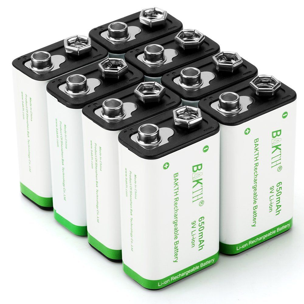 Bakth 9 Volt Avancee Li Ion Rechargeable 9v 650mah Haute Capacite Batteries Rechargeables Faible Autodecharge Au Lithium Ion 8 Pack Quis