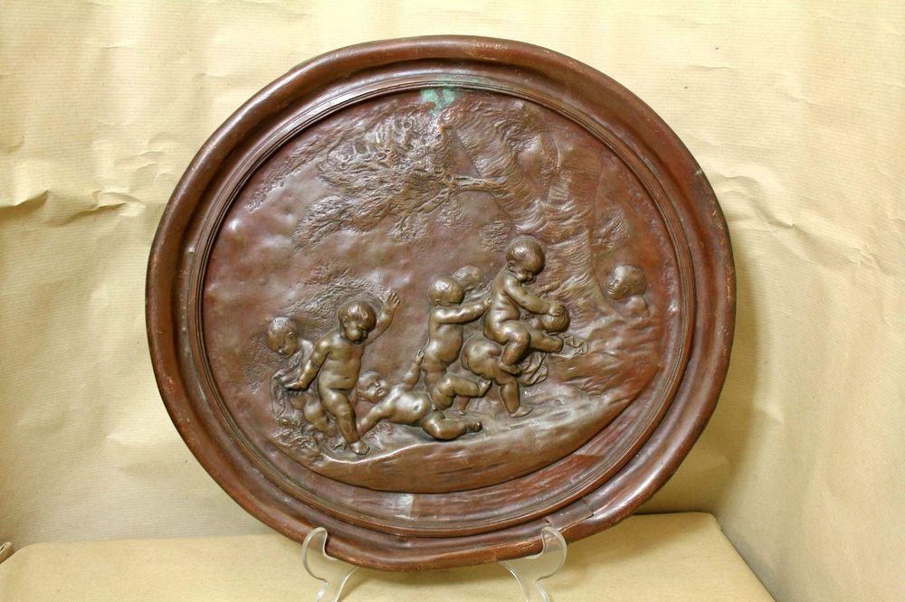 Antikes Kupferguss-Relief Putti Engel Barock ?