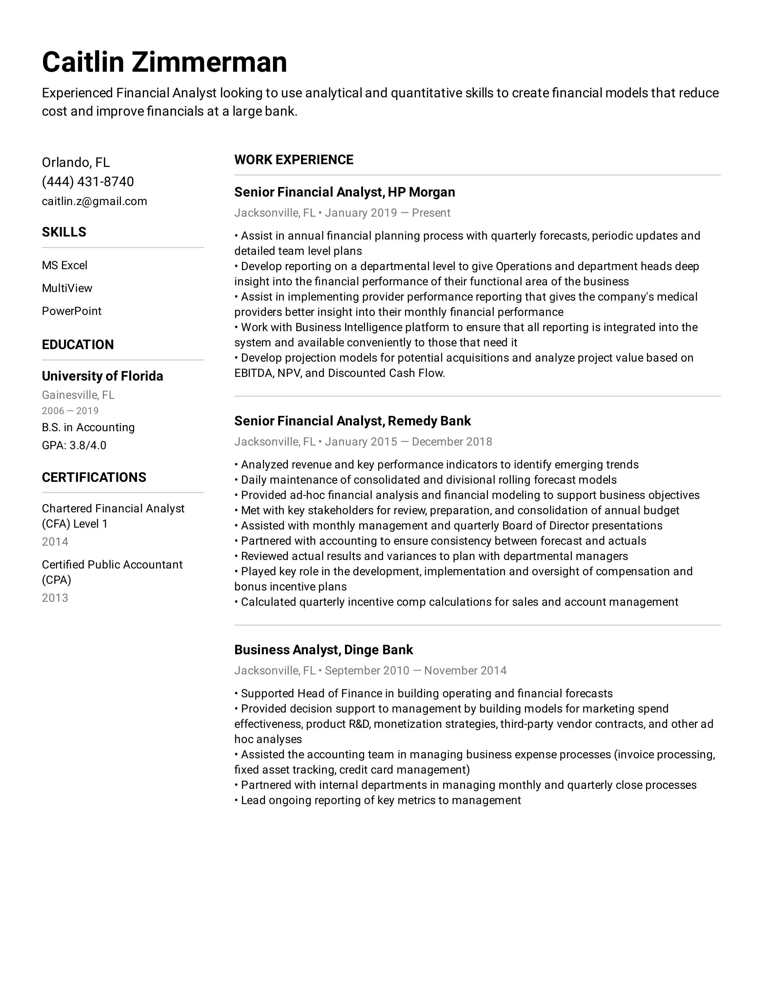 Financial Analyst Resume Example in 2020 Financial