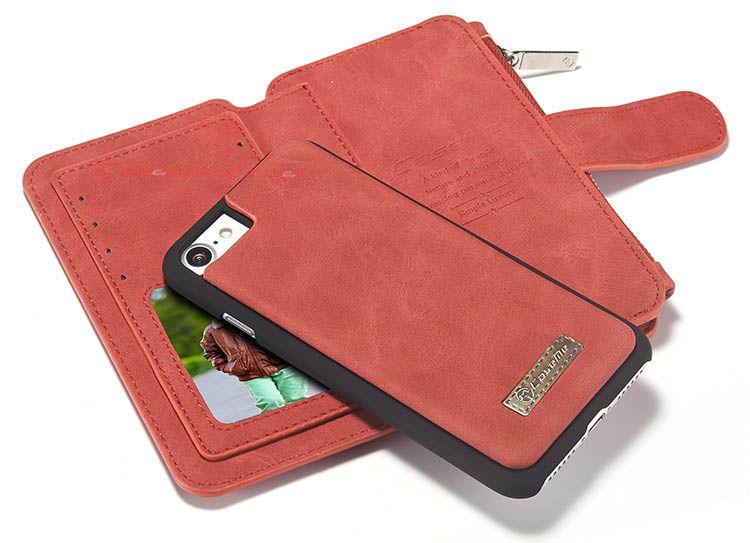 Caseme iphone 7 zipper wallet detachable 2 in 1 flip case
