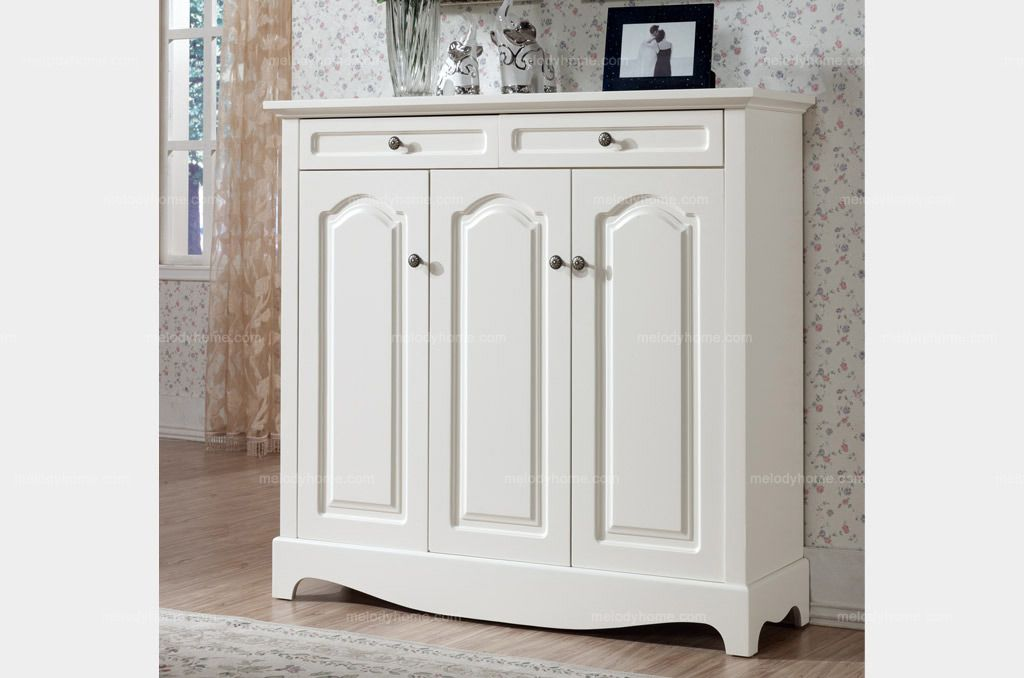 Hanfeier Country Style White Solid Wood Shoe Cabinet   MelodyHome.com