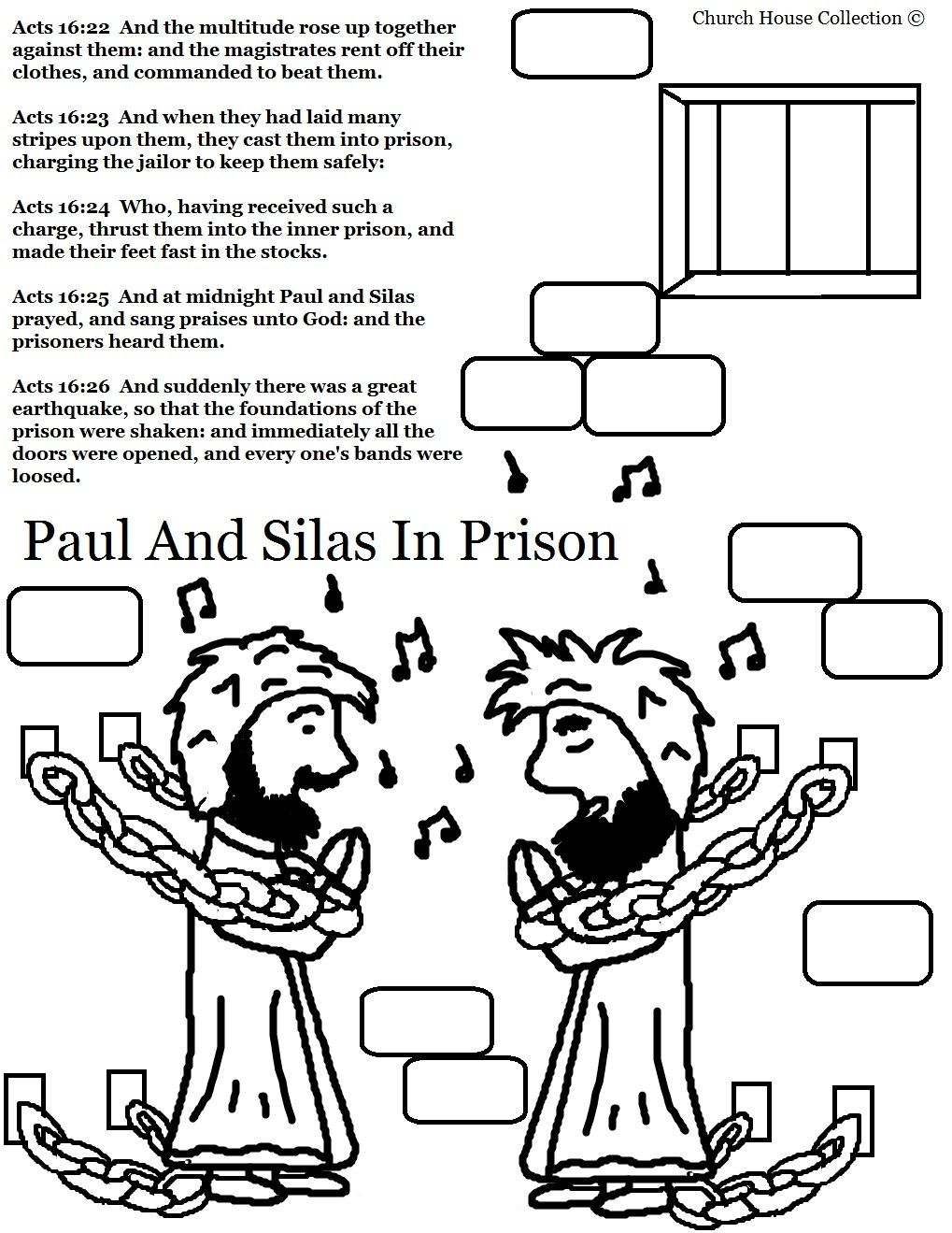 Paul and Silas Coloring Page.jpg 1,019×1,319 pixels | Bible Study ...