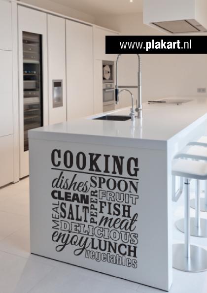 Ontwerp muursticker | muurtekst Cooking woonkamer | Home decor ...